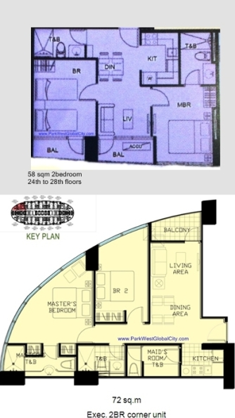 58 sqm and 72sqm 2BR layouts