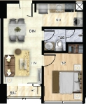 1br - 39 sqm layout